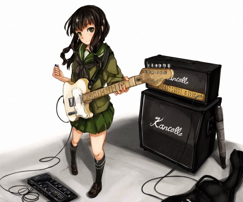 black hair green eyes guitar instrument kantai collection kitakami (kancolle) maki pei seifuku wallpaper