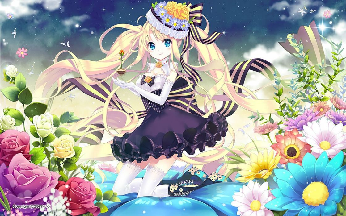 blonde hair blue eyes boots dress elbow gloves e-nya flowers hat leaves long hair original thighhighs twintails wallpaper