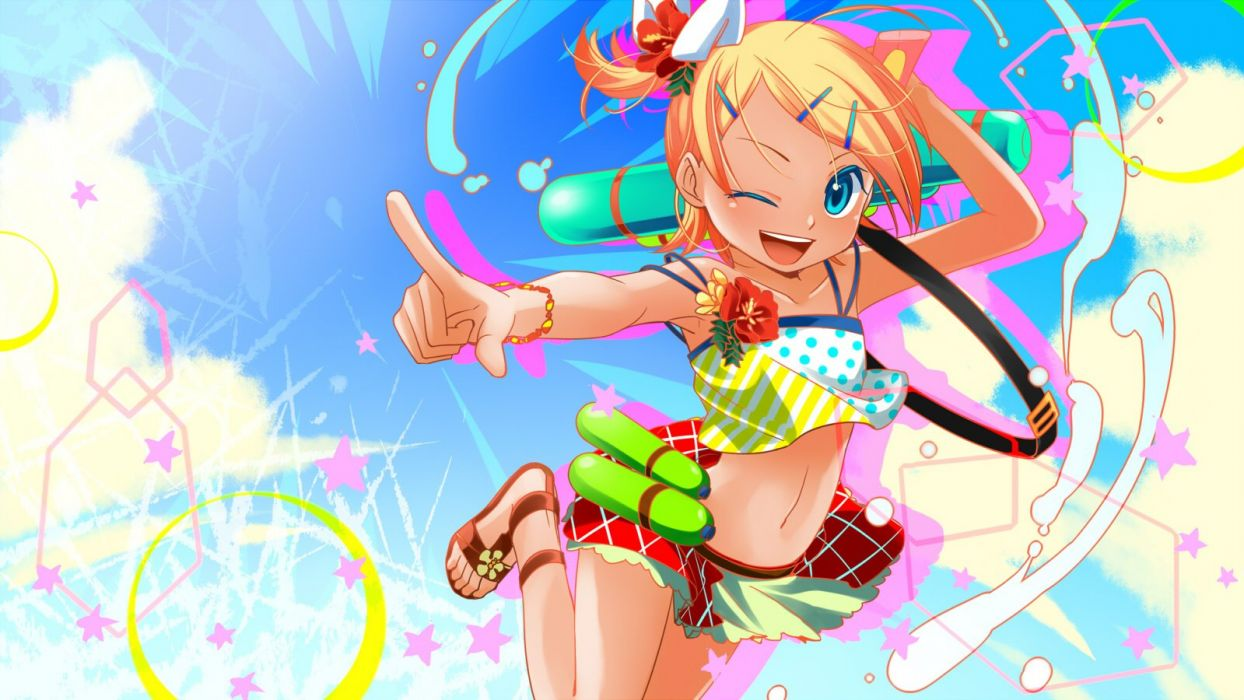 blonde hair blue eyes junji kagamine rin navel ponytail summer vocaloid wink wallpaper