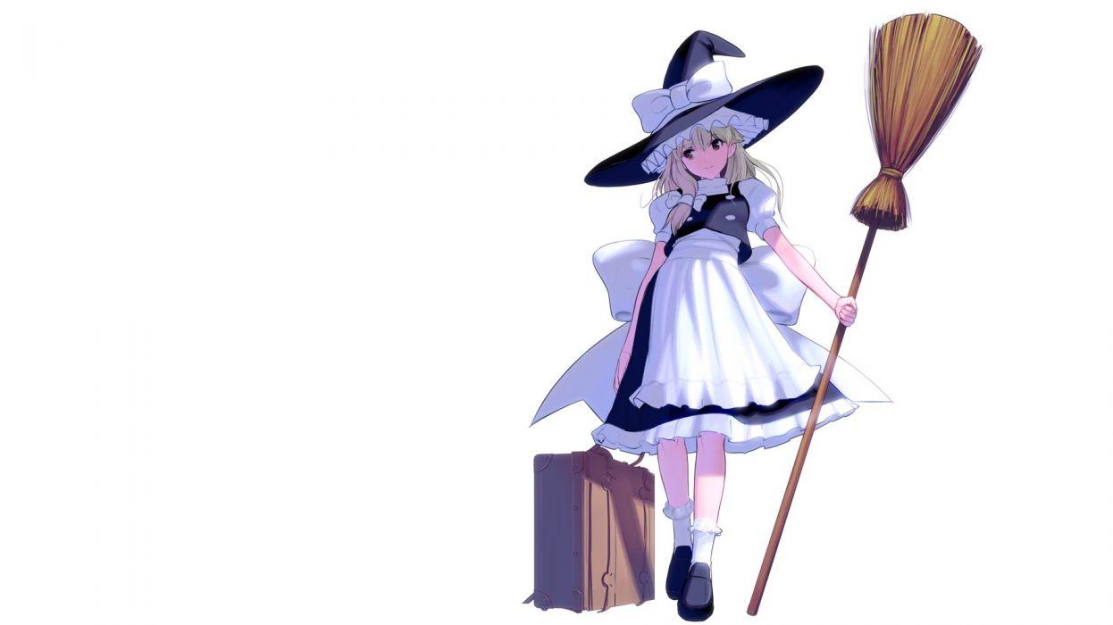 blonde hair bow brown eyes dress hat kirisame marisa long hair masao socks touhou white witch hat wallpaper