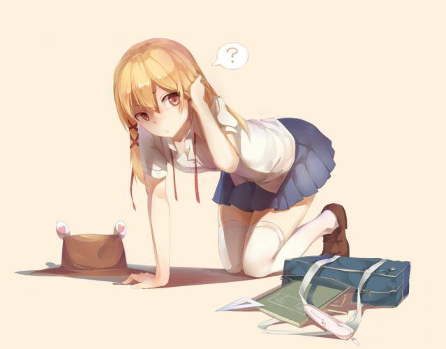 blonde hair book brown eyes gensou kuro usagi hat long hair moriya suwako ribbons skirt thighhighs touhou wallpaper