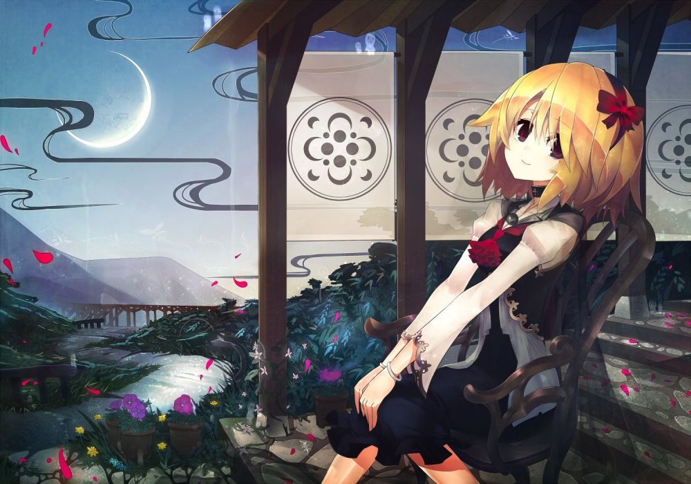 blonde hair dress flowers headband kusakanmuri moon petals red eyes rumia short hair stairs touhou wristwear wallpaper