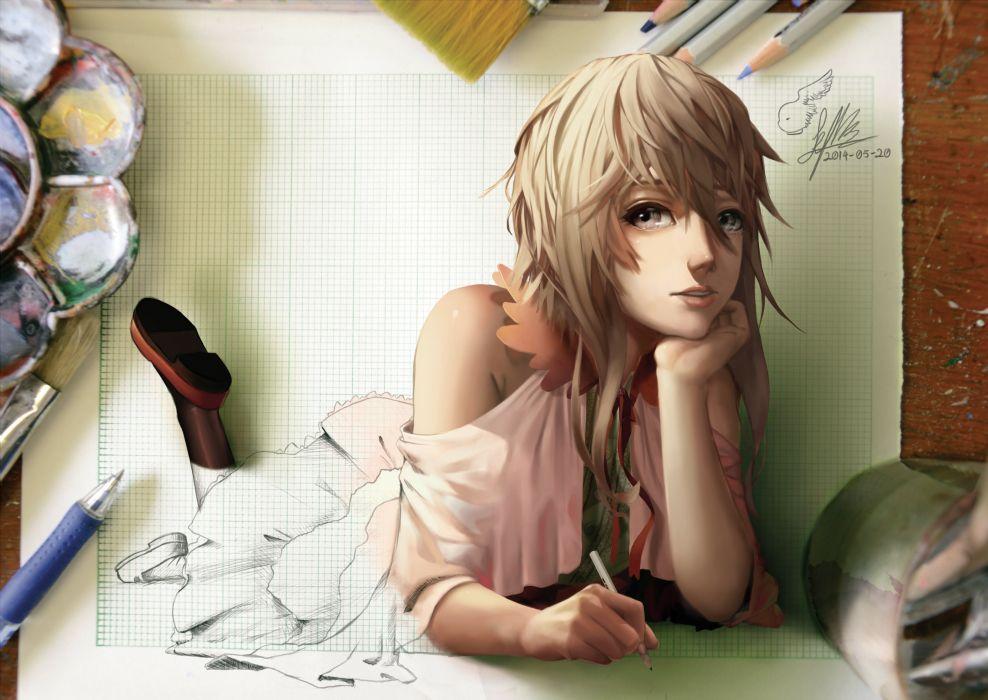 blonde hair gray eyes lepus long hair original signed wallpaper