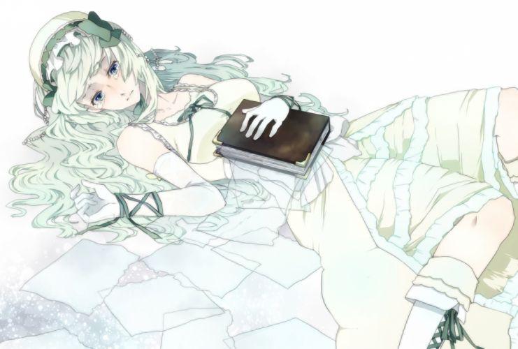 blue eyes book claire bernardus dress elbow gloves green hair paper sofy tears umineko no naku koro ni wallpaper