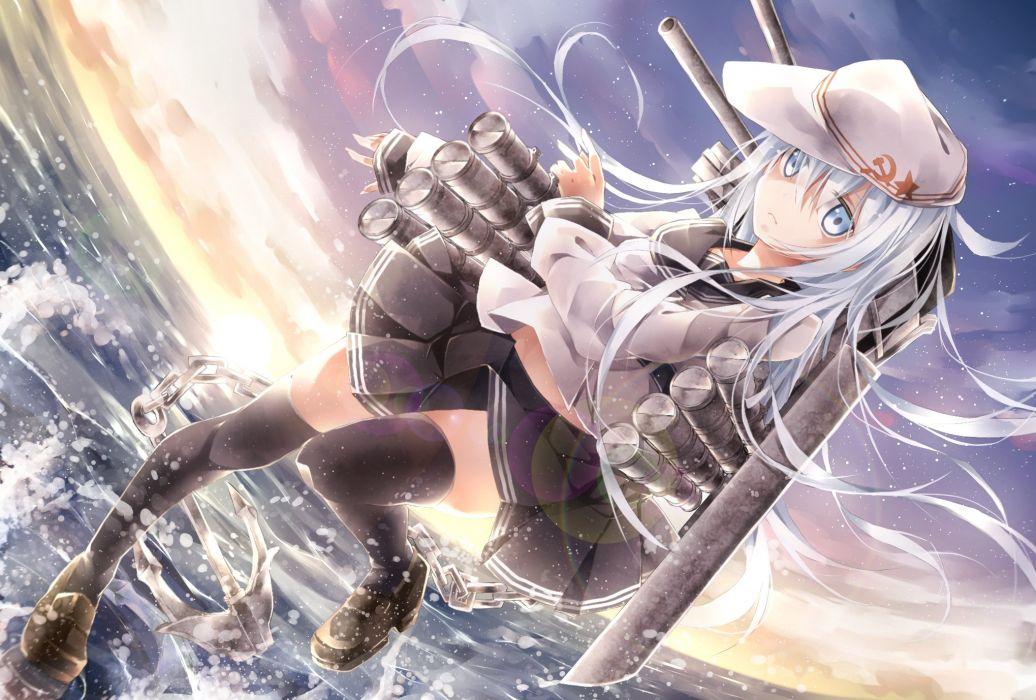 blue eyes blue hair hat kantai collection long hair seifuku skirt thighhighs toutenkou verniy (kancolle) water wallpaper