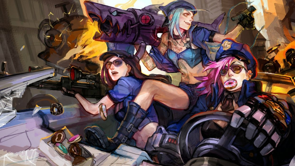 Blue Hair Caitlyn Jinx League Of Legends League Of Legends Pink