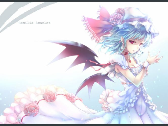 blue hair choker dress flowers hat maryquant necklace pointed ears red eyes remilia scarlet short hair touhou vampire wings wristwear wallpaper