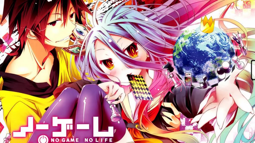 blush brown hair crown gray hair long hair no game no life red eyes seifuku shiro (no game no life) sora (no game no life) thighhighs yellow eyes wallpaper