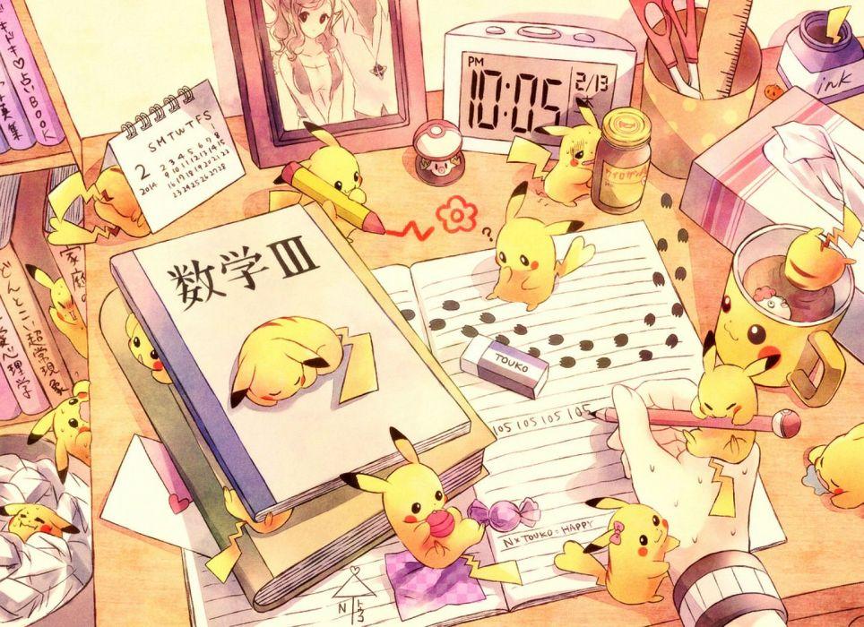 book brown hair foongus n pikachu pokemon torute touko (pokemon) wallpaper