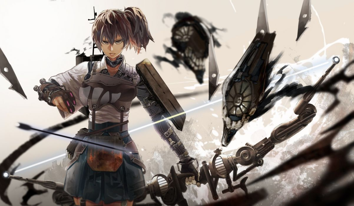 bow (weapon) brown eyes brown hair gloves kaga (kancolle) kantai collection kirii ponytail short hair skirt weapon wallpaper