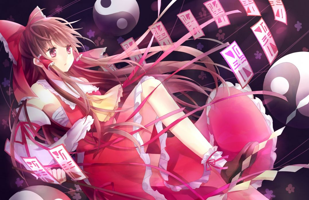 bow brown hair hakurei reimu japanese clothes long hair miko ni you red eyes skirt socks touhou twintails wallpaper