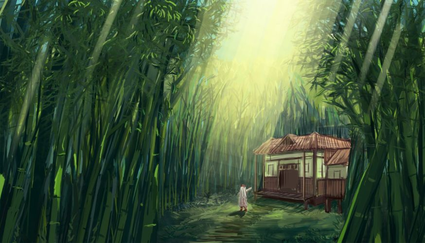 bow building chenyin fujiwara no mokou grass long hair scenic touhou white hair wallpaper