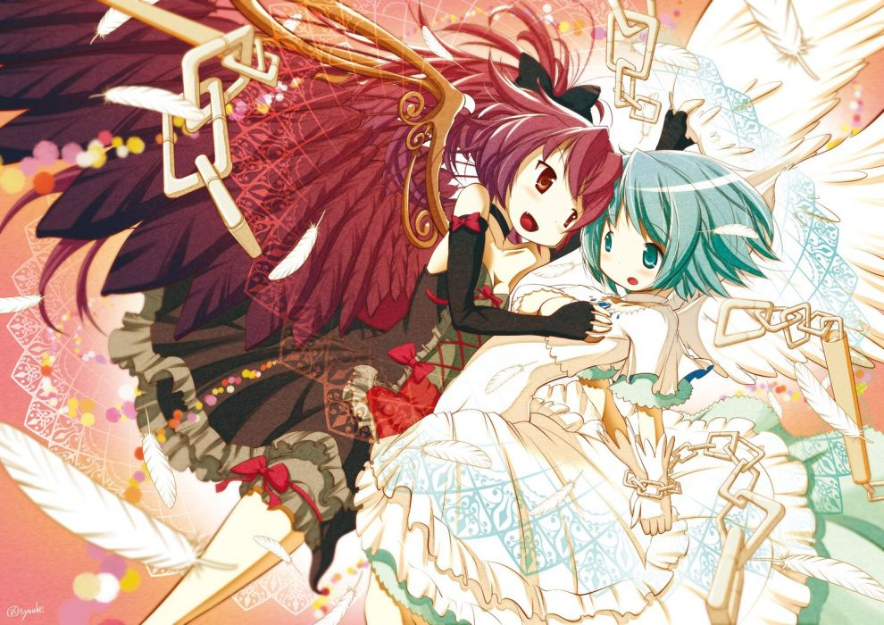 breast grab chain chauke dress feathers mahou shoujo madoka magica miki  sayaka sakura kyouko wings wallpaper