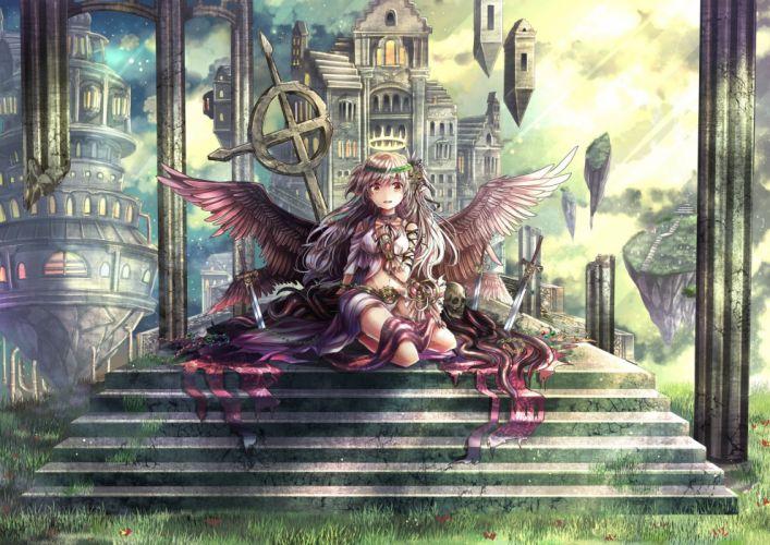 brown eyes brown hair building cross halo long hair original pointed ears rudia skull stairs sword weapon wings wallpaper