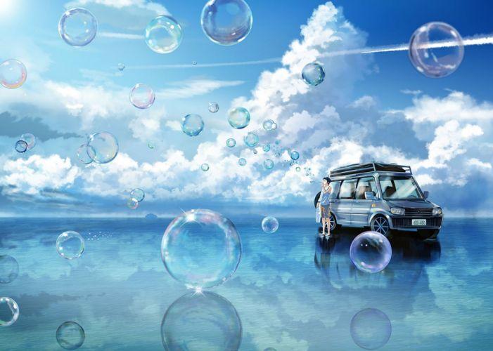 bubbles car clouds fusui male original sky wallpaper