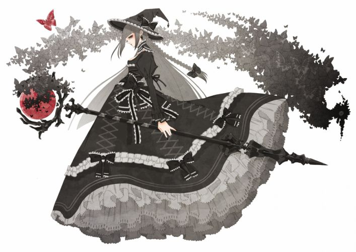 butterfly dress gothic hat hoshinoy original staff witch hat wallpaper