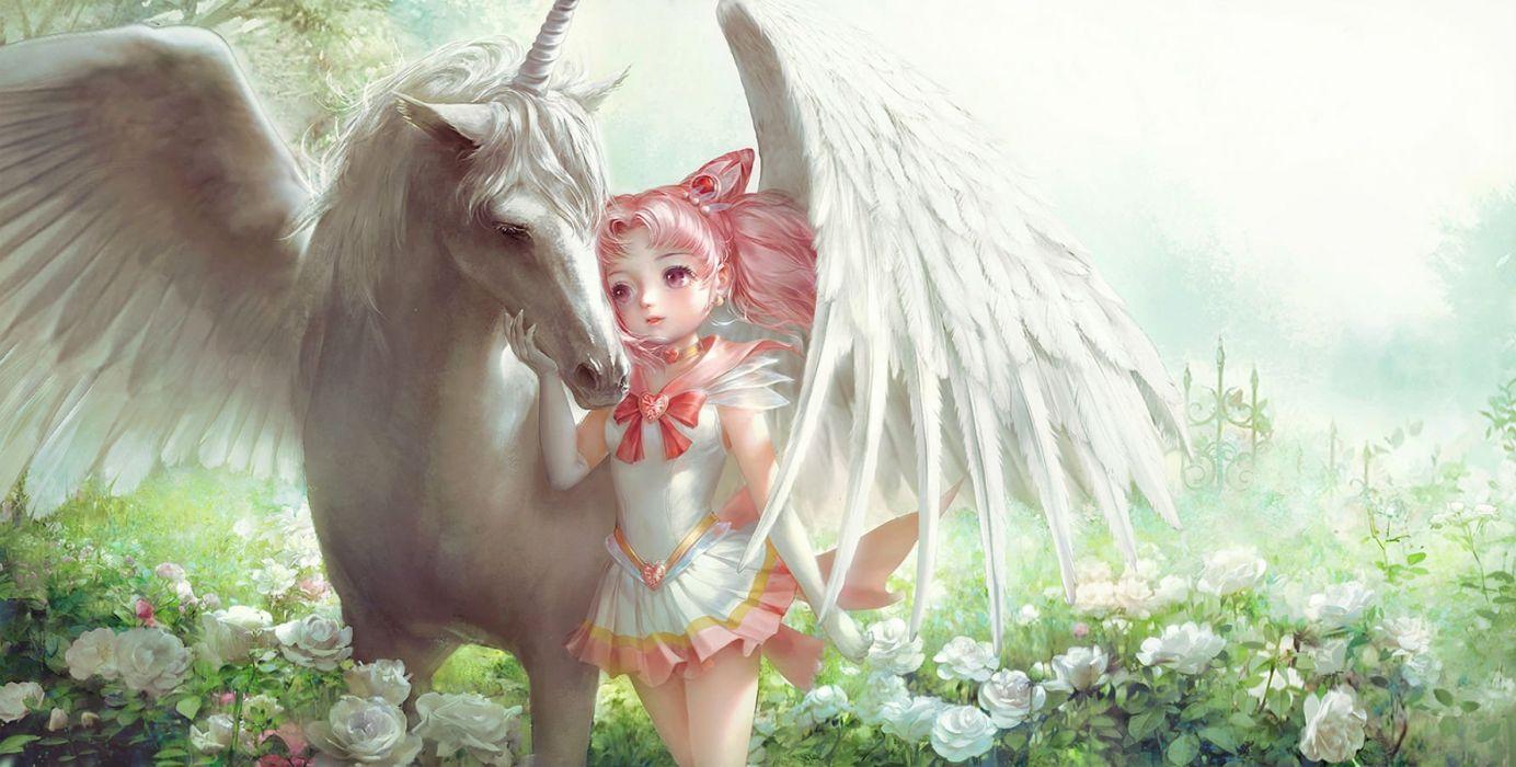 chibiusa dress elbow gloves flowers hao6578300 long hair pegasus pink eyes pink hair rose sailor moon wallpaper