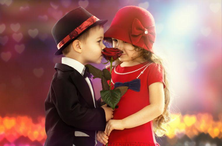 children boy girl flower rose mood romance wallpaper