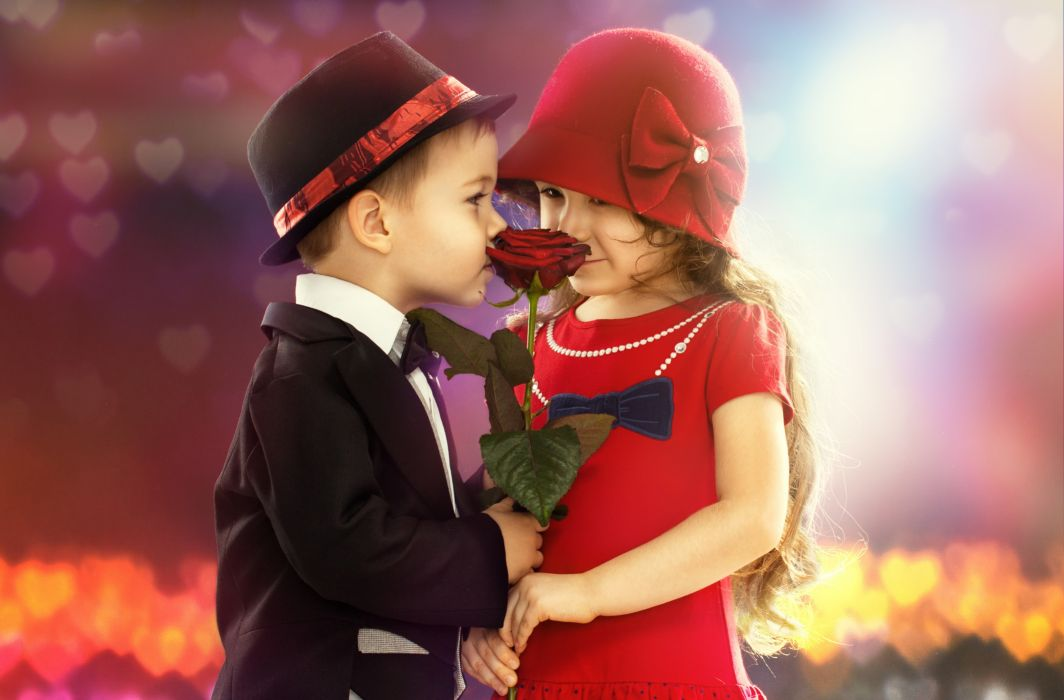 children boy girl flower rose mood romance wallpaper