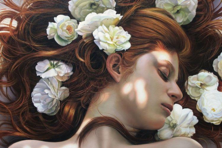 Christiane Vleugels Face Sleep Brown haired Hair Fantasy mood wallpaper