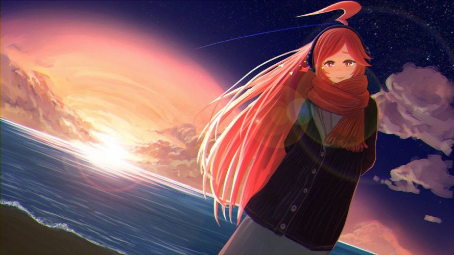 clouds miki (vocaloid) red eyes red hair scarf sky stars sunset vocaloid water yue (yueanh) wallpaper