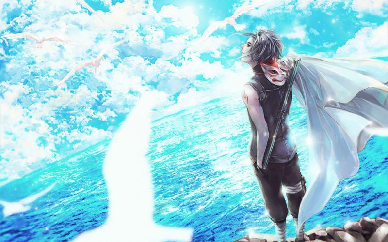clouds male mask naruto scarlet97 sky uchiha sasuke water wallpaper