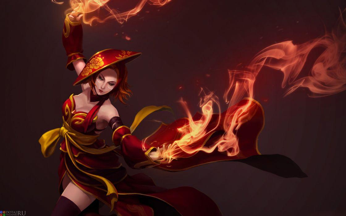 DOTA 2 Magic Lina Fire Games Girls Fantasy wallpaper