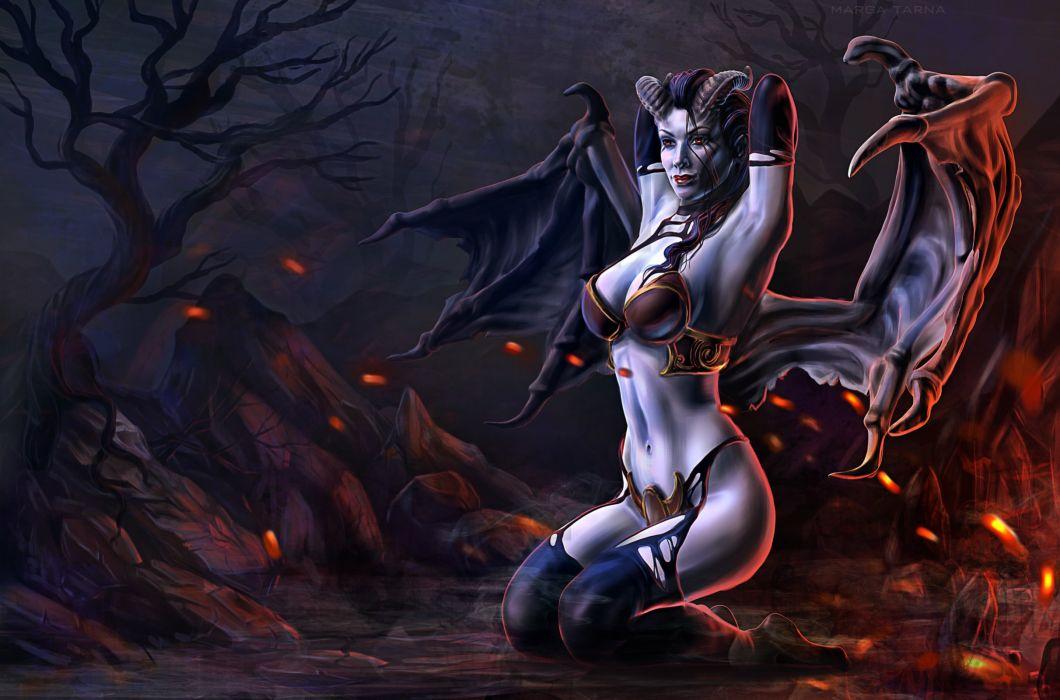 DOTA 2 Supernatural beings Akasha the Queen of Pain Horns Wings Games Girls Fantasy sexy babe darl demon wallpaper