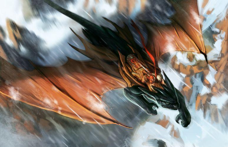 Dragon Warrior Flight Wings Fantasy wallpaper