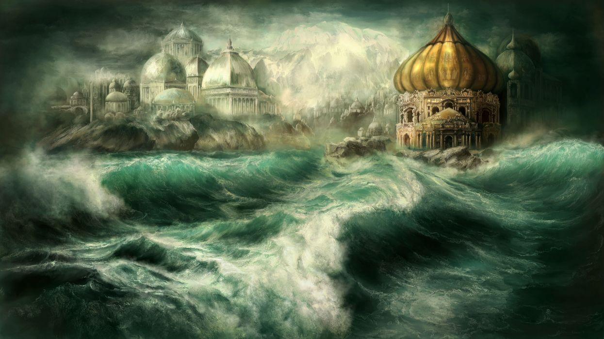 Fantastic world Waves Sea Fantasy wallpaper