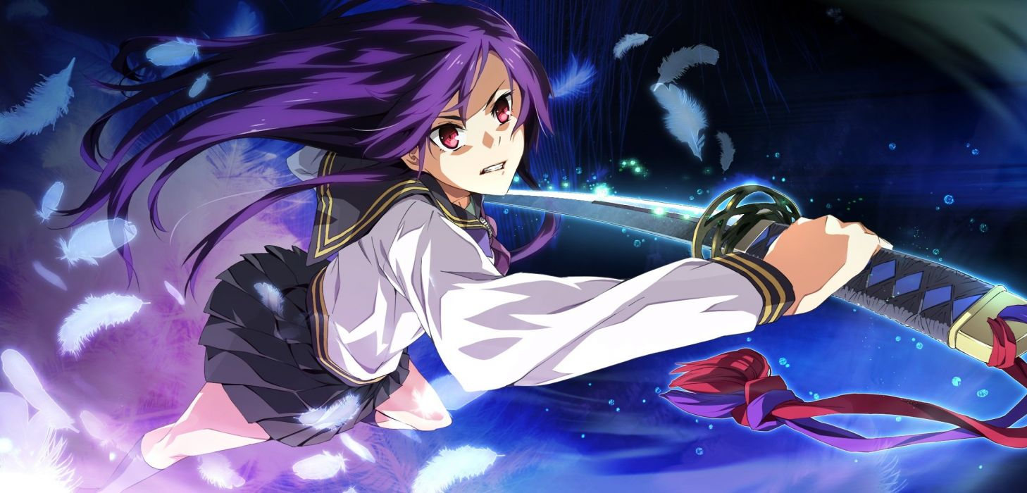 feathers game cg g yuusuke katana light long hair purple hair red eyes seifuku sera mizuki sousyu sensinkan-gakuen hachimyoujin sword weapon wallpaper