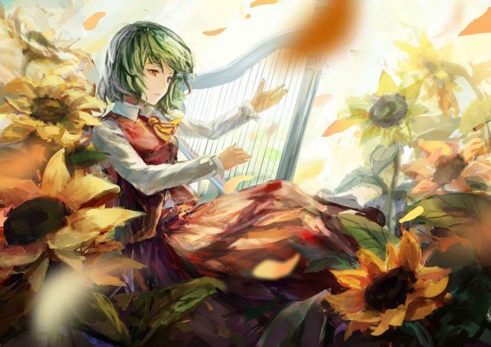 flowers instrument kazami yuuka petals shuang ye sunflower touhou wallpaper