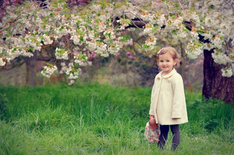 girl child spring mood flowers joy doll wallpaper