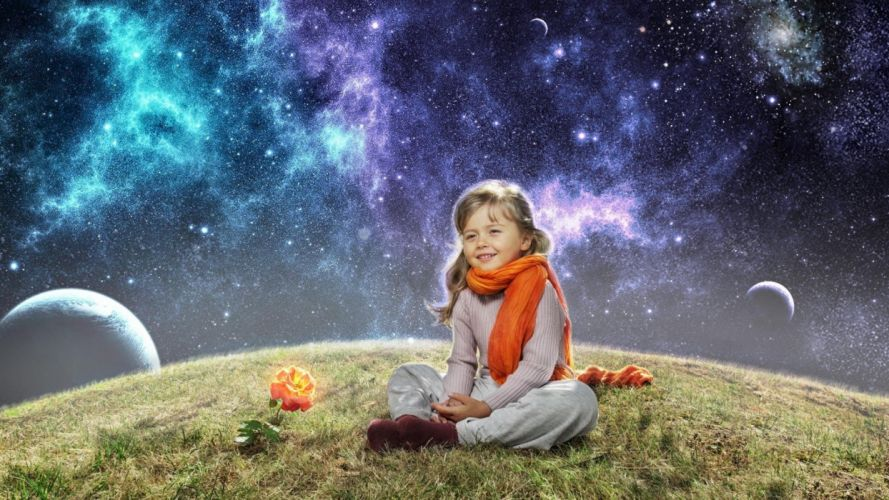 girl child space planet rose scarf wallpaper