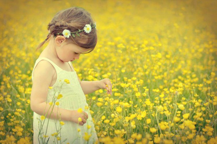 girl field flowers mood wallpaper