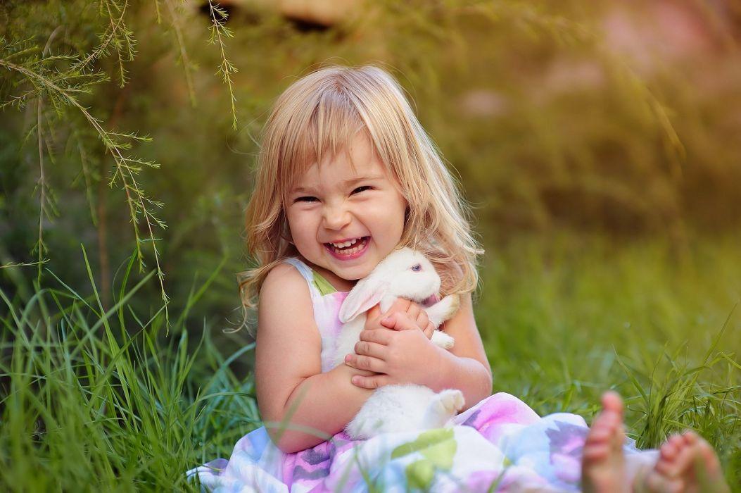 girl rabbit mood joy wallpaper