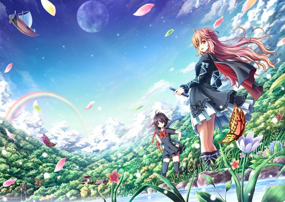 girls akashio black hair bow butterfly cape clouds dress flowers long hair moon petals rainbow red eyes short hair sky thighhighs touhou water wings wallpaper