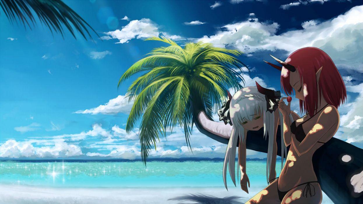 Girls beach bikini horns long hair navel pixiv fantasia - Beach anime girl ...