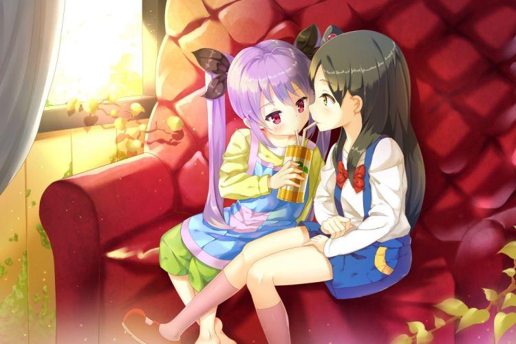 girls black hair bow crossover drink food kneehighs loli long hair miyauchi renge non non biyori purple hair tamako market totem (fujihan) twintails wallpaper