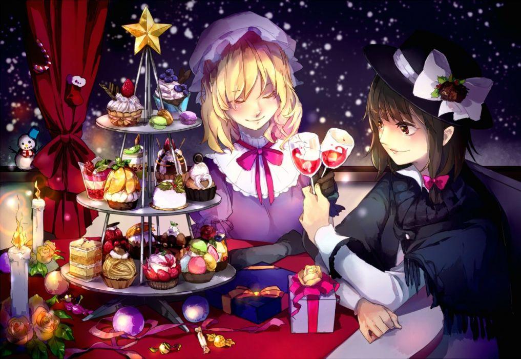 girls food maribel han snow sofy touhou usami renko wallpaper