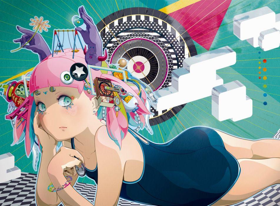 green eyes hiroyuki takahashi original pink hair robot school swimsuit swimsuit wallpaper