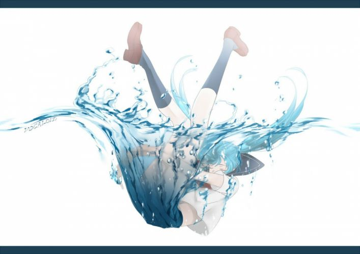 hatsune miku kurashiki (kas0) seifuku vocaloid water wallpaper