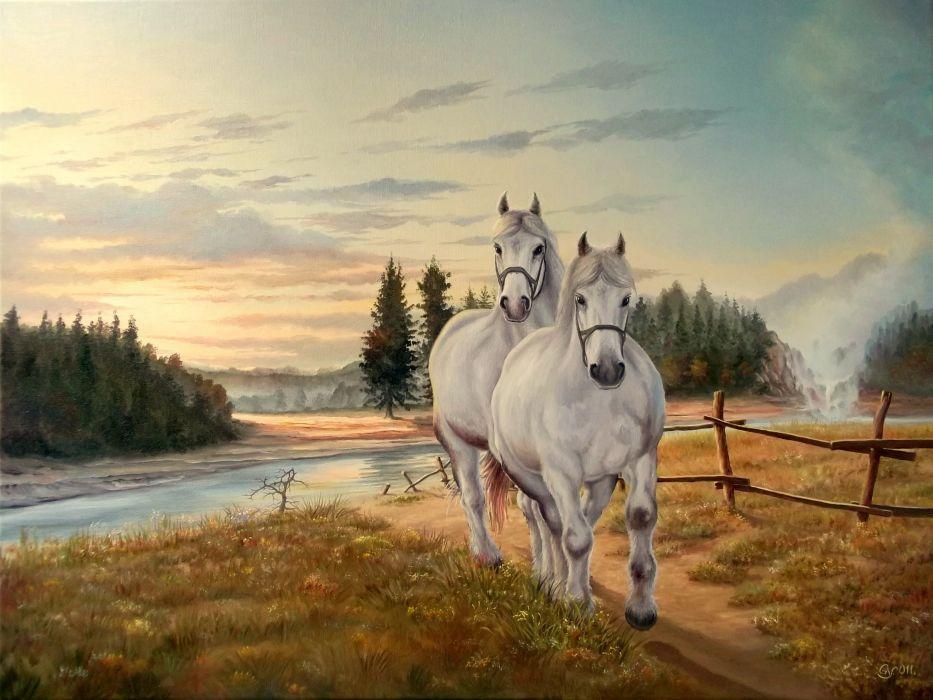 horse grass mane painting white wallpaper