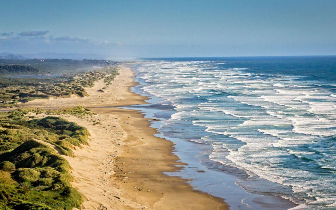landscape nature ocean surf waves coast Pacific Ocean Oregon United States wallpaper