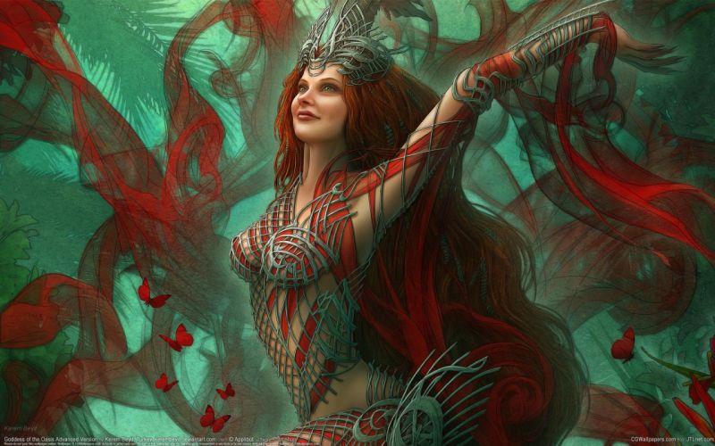 Magic Butterflies Redhead girl Fantasy Girls butterfly g wallpaper