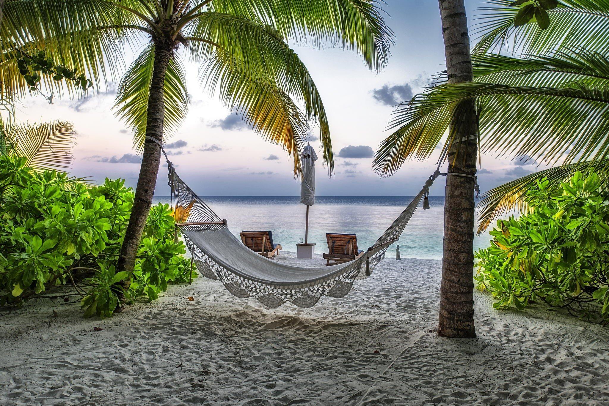Maldives beach hammock palm resort vacation summer for Fond ecran plage gratuit