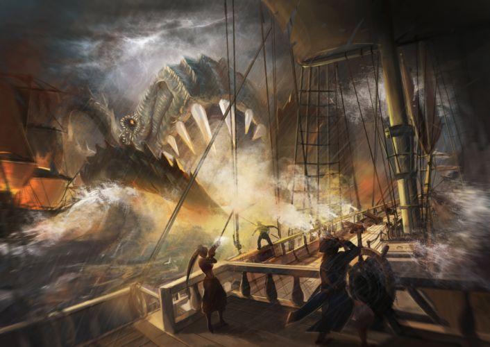 MonstersSailing Battle Ship Fantasy wallpaper