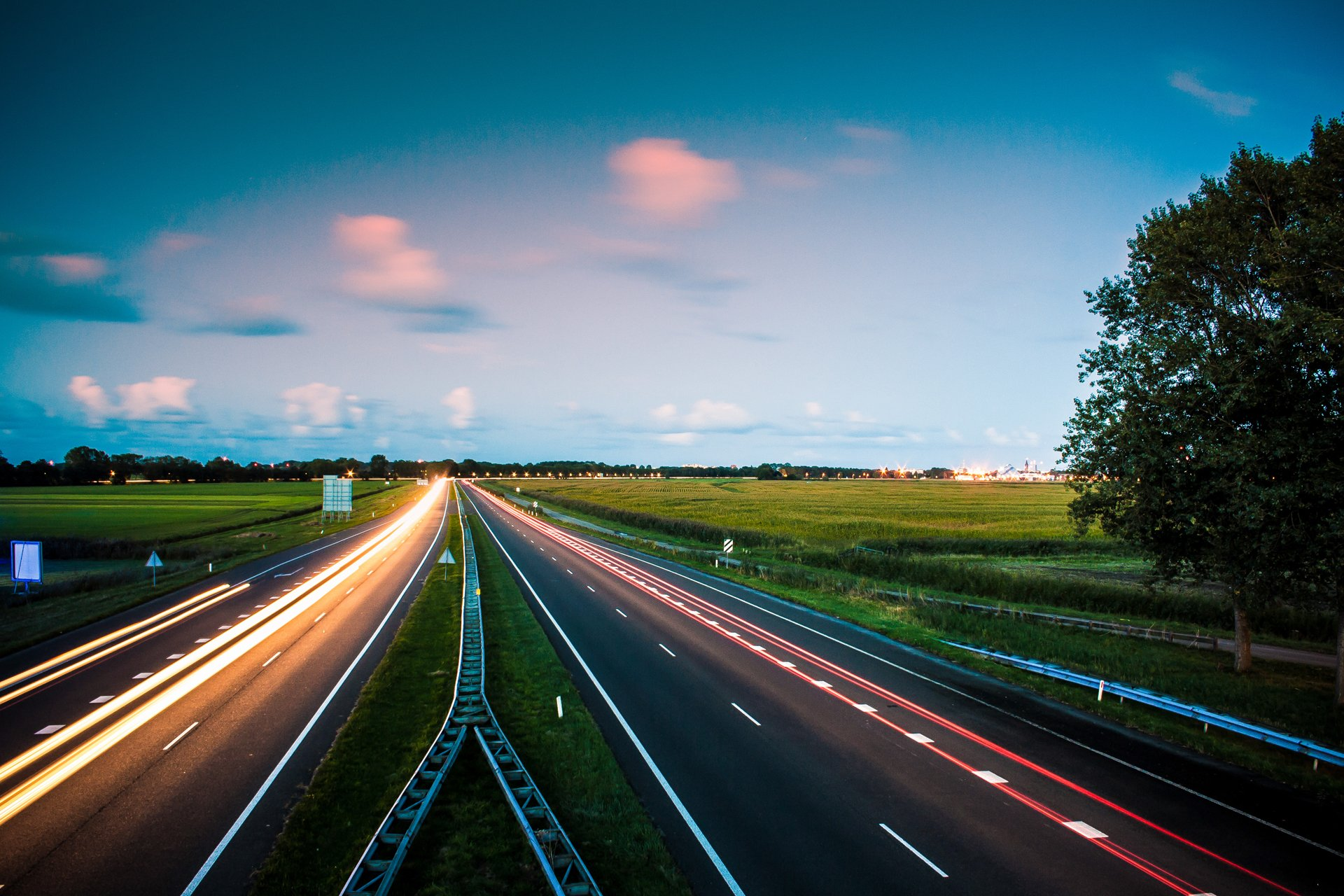 Netherlands Friesland Marssum Highway Road Night Lights Exposure Fall Septemb