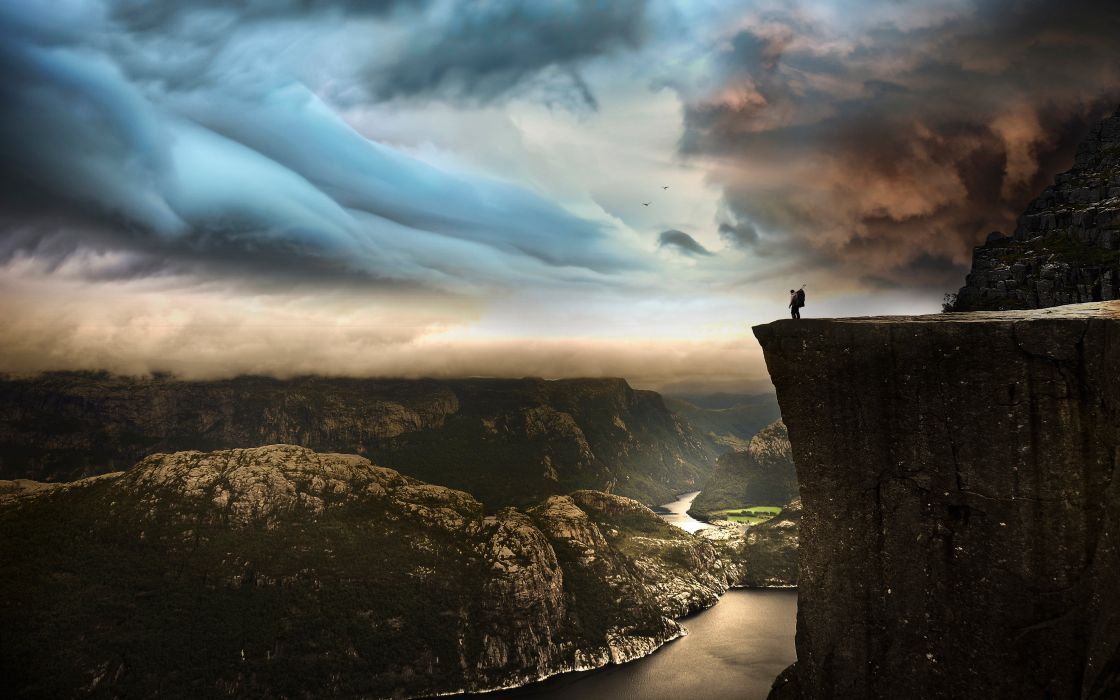 Preikestolen Norway photo by Robin Kamp landscape mountains sky clouds man cliff rock river wallpaper
