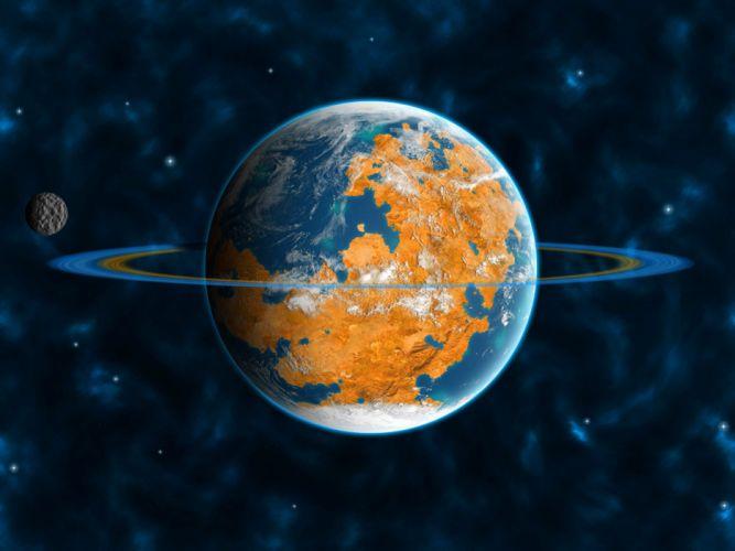 rings satellite universe planet wallpaper